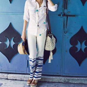 • Tory Burch • Elle Blanket Striped Jeans Cream 27